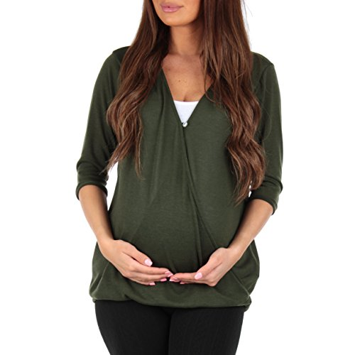 Mother Bee Women's Criss Cross Maternity and Nursing Wrap Tunic Rags and Couture - Made In - Middleton Kate Maternity