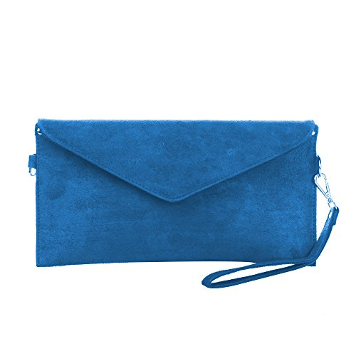 Ladies Suede Blue Clutch Faux Soft Evening Handbag Bag Envelope Designer Royal Italian rqPx1Xr