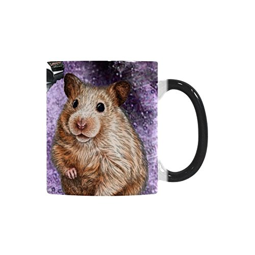 Artsadd Morphing Mug Animal Marmots in Space Galaxy Solar System Hot Cold Heat Sensitive Color changing Black and White 11 Oz Ceramic Coffee Tea Mug Cup