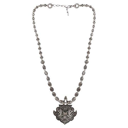 Efulgenz Boho Vintage Antique Ethnic Gypsy Tribal Indian Oxidized Silver Beaded Statement Pendant Necklace - India Pendants Jewelry