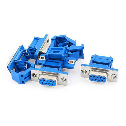 uxcell 5pcs D-SUB DB9 9Pin Female IDC Crimp Adapter Connector for Ribbon Wire