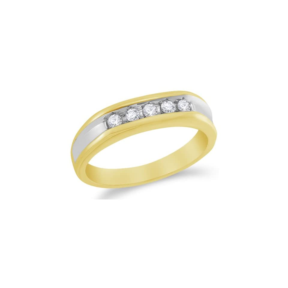 Size 7   10K Yellow and White Two Tone Gold Diamond MENS Wedding Band Ring   w/ Channel Set Round Diamonds   (1/4 cttw)