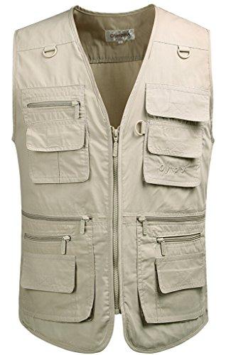 Mrignt Men's Oversize Pockets Travels Sports Vest(Outdoor Coat) (US L (Asia 3XL),Light Khaki)