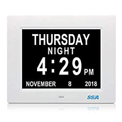 SSA Alarm Clock, 8 inch Digital Calendar Day Clock with Clear Large Non-Abbreviated Day & Month Wall Hanging or Desk/Shelf Clock Dementia Clock Pefect for Memory Loss Elderly Seniors Mother's Day
