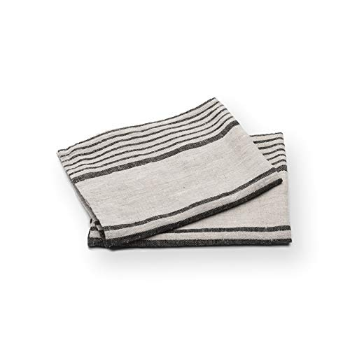 LinenMe Set of 2 Provence Linen Hand Towels, Standard, Black Natural Striped, Prewashed 100% Linen, Made in Europe, Produced from European Linen. ()