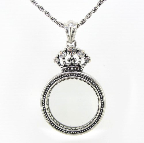 Magnifier Necklace - Crown Pendant - Grandmother Gift