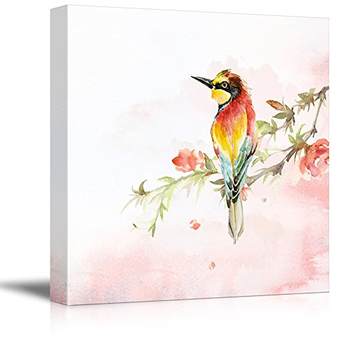 Square Watercolor Painting of a Red Bird Sitting on a Blooming Cherry Branch