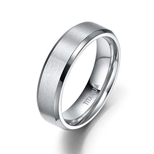 6mm Unisex Titanium Ring Flat Matte Brushed Beveled Edge Wedding Band Comfort Fit Size 4-13 (titanium, 10)