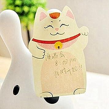 Maneki Neko Kawaii Animals Klebezettel-Block Winkekatze Gl/ückskatze