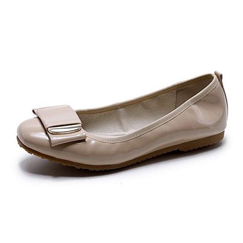 AllhqFashion Damen PU Leder Rein Ziehen auf Rund Zehe Ohne Absatz Flache Schuhe Aprikosen Farbe