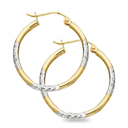 Round Hoop Earrings 14k Yellow & White Gold Diamond Cut Polished French Lock Two Tone 16 x 2 mm