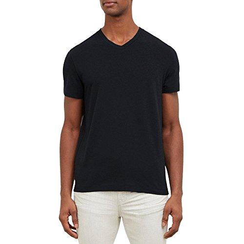 Kenneth Cole New York Men's Cotton Spandex V-Neck T-Shirt, Black, X-Large