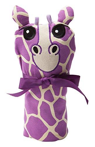 (Sozo Baby-Girls Newborn Giraffe Swaddle Blanket and Cap Set, Purple/Tan, One Size)