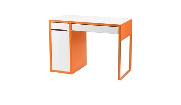 IKEA Micke escritorio en blanco/naranja; (105 x 50 cm): Amazon.es ...