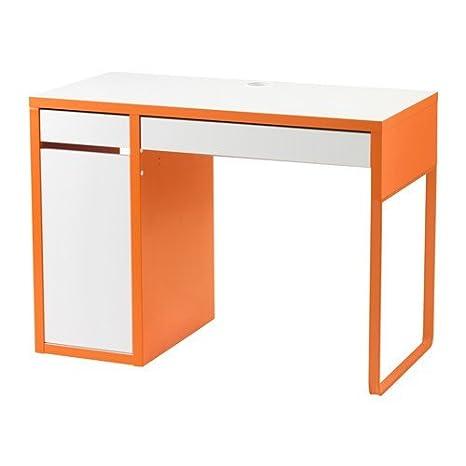 Ikea Scrivania Micke Bianca.Ikea Micke Scrivania In Bianco Arancione 105 X 50 Cm Amazon It