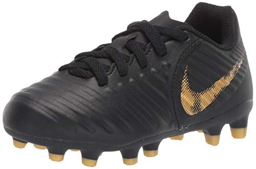 Nike Youth Legend 7 Club MG Soccer Cleats (Black/Metallic Vivid Gold) (4.5Y)