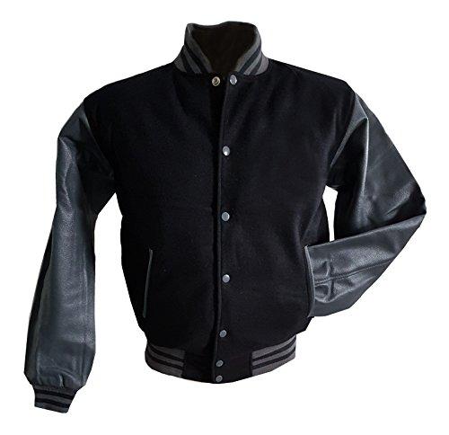 XXL Original schwarz Ärmel Jacke Windhound Echtleder mit grauen College Trq8n1TS