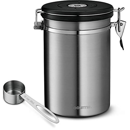 Gourmia GCC9390 Coffee Canister – Stainless Steel Storage container with Airtight Lid, CO2 Vent Valve, Measuring Scoop and Date Tracker Wheel - Holds 1.5lbs Whole Beans or 1.2lbs Grounds, 64 floz