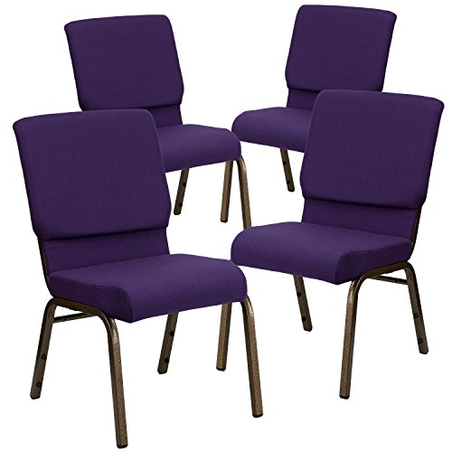Flash Furniture 4 Pk. HERCULES Series 18.5''W Stacking Church Chair in Royal Purple Fabric - Gold Vein Frame