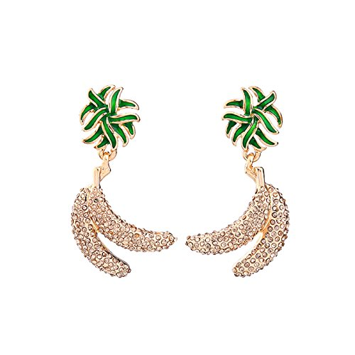 Banana Flower Green Enamel Crystal Earrings Cute & Fashion Drop Earrings Women Jewelry - Marina And The Diamonds Emoji Costume