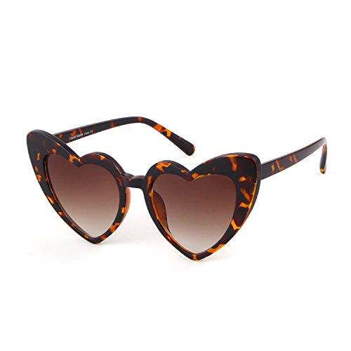 Clout Goggle Heart Sunglasses Vintage Cat Eye Mod Style Retro Kurt Cobain Glasses (Leopard, 50) (Vintage Style Leopard)