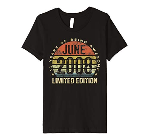 - Kids Born June 2008 Limited Edition Bday Gifts 11th Birthday Premium T-Shirt