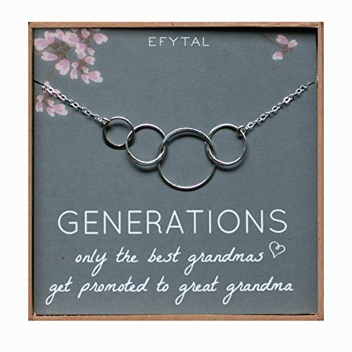 - EFYTAL Generations Necklace for Great Grandma, Sterling Silver Four Circle Gift 4 Great Grandmother Jewelry
