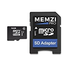MEMZI PRO 16GB Class 10 90MB/s Micro SDHC Memory Card with SD Adapter for HTC Desire Cell Phones