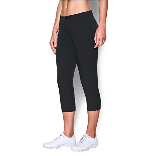 Under Armour Women's Links Capri Pant, Black/True Gray Heather, 10