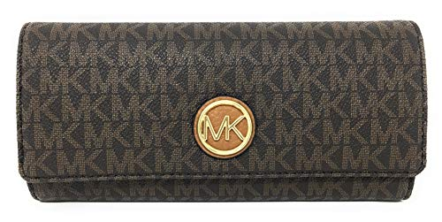 (Michael Kors Fulton Flap Continental Wallet - Signature PVC (Brown & Acorn))