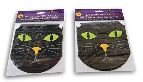 Spooky Town Halloween Themed Black Cat Drawstring Treat Bags - 36 Count