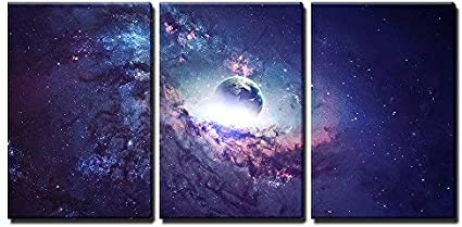 Wall26 3 Piece Canvas Wall Art Universe Scene With Planets Stars And Galaxies In Outer Space Modern Home Art Stretched And Framed Ready To Hang 16 X24 X3 Panels Posters Prints Amazon Com