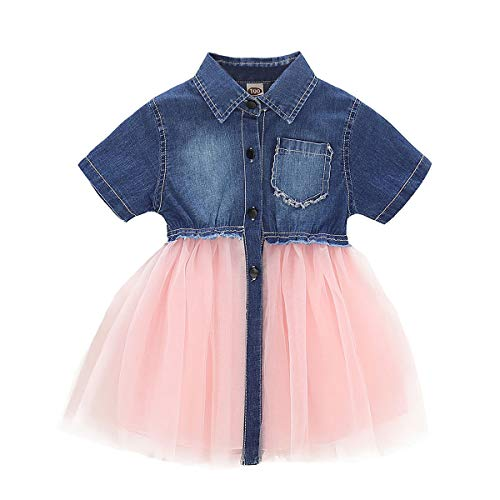 Infant Toddler Baby Girl Dress Denim Jeans Top Pink Tulle Tutu Dress Skirt Outfit (18-24 Months, Short Sleeves Denim Splicing mesh Tulle ()