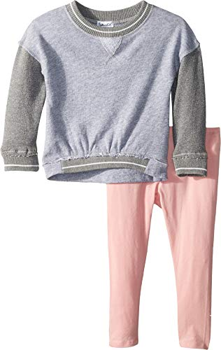 (Splendid Baby Girls Two Tone French Terry top Set, Light Grey Heather 18/24)