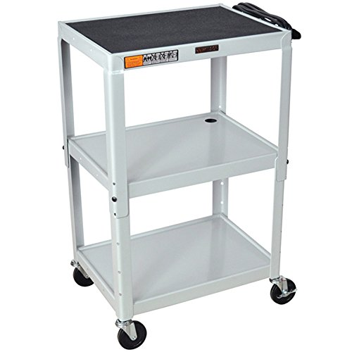 Luxor / H. Wilson W42AE Gray Metal 3 Shelf A/V Utility Cart