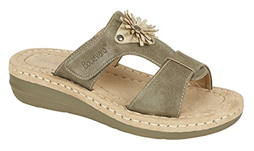 Ladies Touch Fastening Flower Mule Sandal Olive aT7C5o