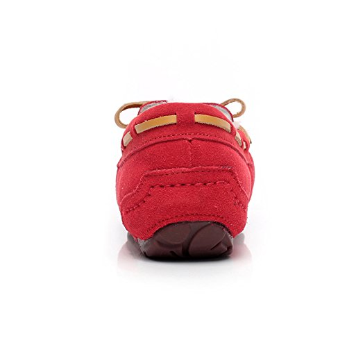 Winter rismart Moccasins Sheepskin Wool End Loafers High Women's Suede Lining Warm Red Slippers Flat w4qFwp8