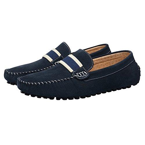 Shenn Hommes Glisser Sur La Conduite De Voiture Plate Tresse Daim En Cuir Mocassins Chaussures Bleu Marine1