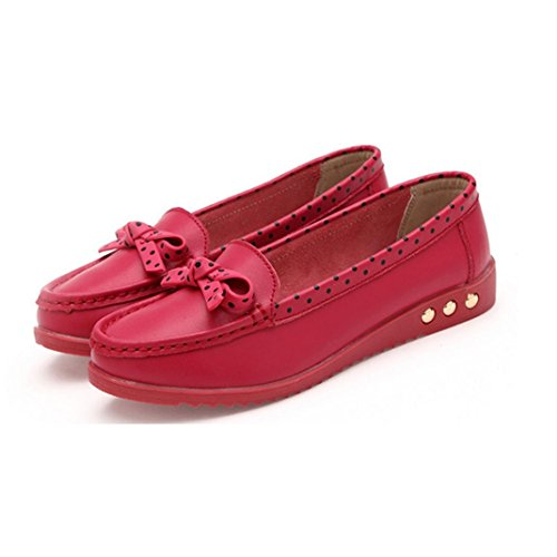 Shoes Red Shoes Clode® Flats Shoes Bowknot On Comfort Women Slip Flat Loafers Bfq1RPaw