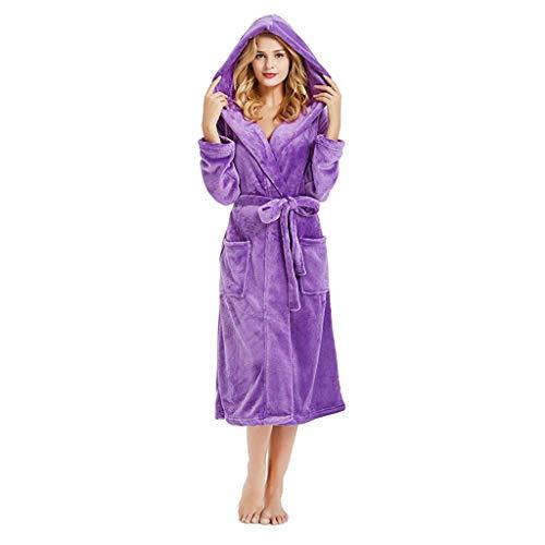 Lelili Women Lace-up Velvet Hood Pajamas Lengthened Plush Shawl Bathrobe Sleepweer Long Sleeved Coat Purple