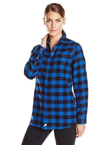 Woolrich Women's Buffalo Check Boyfriend Flannel Shirt, Cobalt, Small ()