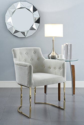Chic Home Amalfi Accent Chair Button Tufted Linen Upholstered Polished Brass Solid Metal Frame, Modern Contemporary, -