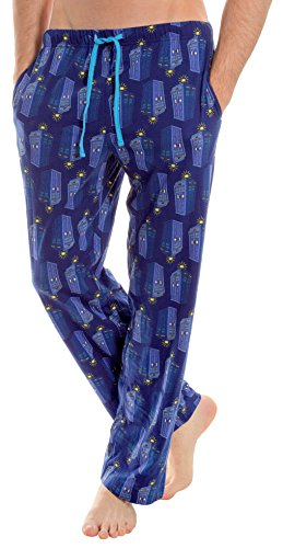 Underboss Adults Unisex Mens Doctor Who Blue Tardis Comic Printed Lounge Pajama Pants Large (Lounge Pants Jersey Printed)