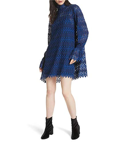 Free People Womens Simone Mini Baby Doll Dress, Blue, Large