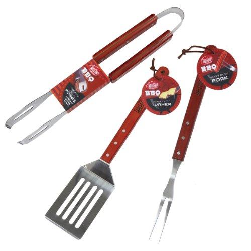 ndle 3-Piece BBQ Tool Set. ()