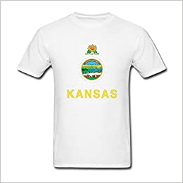 graphic about Printable Shirts called Adanight Mens Kansas Printable Flag T shirts Dimensions XL White