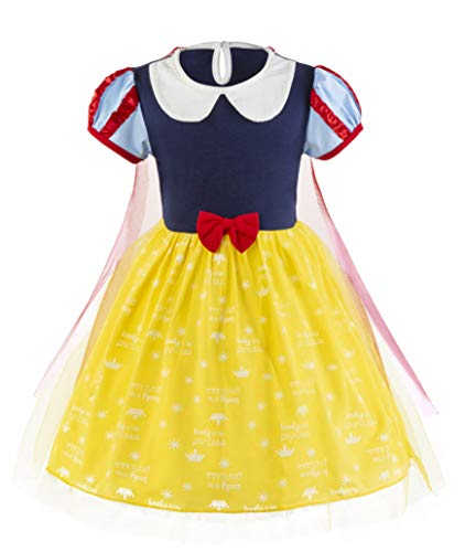 Padete Baby Girl Princess Anna Alice Elsa Little Mermaid Snow White Dress Costume (18-24 Months, SnowWhite) -