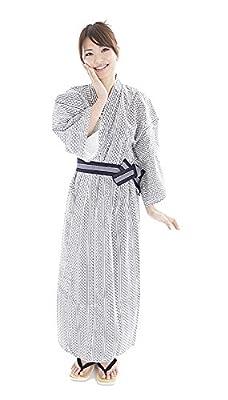 Yukata Kimono Men's / Women's Spa Robe Japanese with Kaku Obi Cotton Pajama
