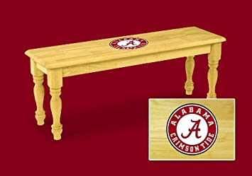 Solid Wood Farmhouse-Style Bench in a Natural Finish featuring your Favorite Sports Team Logo (Alabama Crimson Tide