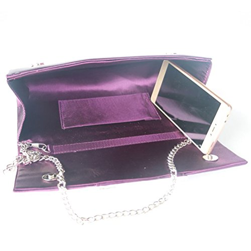 Wedding LUOEM for Women Clutch Purple Rhinestone Bag Party for Evening Handbag Purse zxwz16nqOF